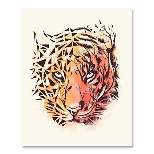 (Outdoor Wilderness Safari Art Print Colorful Geometric Leopard Tiger Wall Art Beautiful Serene Cat Lover Wildlife Landscape Poster African Inspiration Childrens Room Home Decor 8 x 10 Art Print)