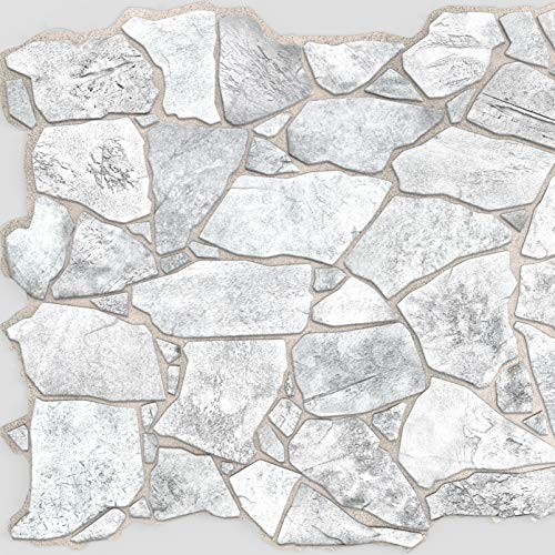 Wild Grey Stone PVC 3D Wall Panels - Interior Design Wall Paneling Decor Commercial and Residential Application, 3.2