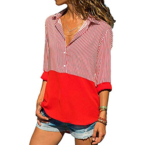 Shujin Col Tissu 5XL Casual Vacances Manches Polyester Haut Epissure Doux Splice Stripe Femme Chemise Longues S Rouge V Ray Tops rqWwrEUv