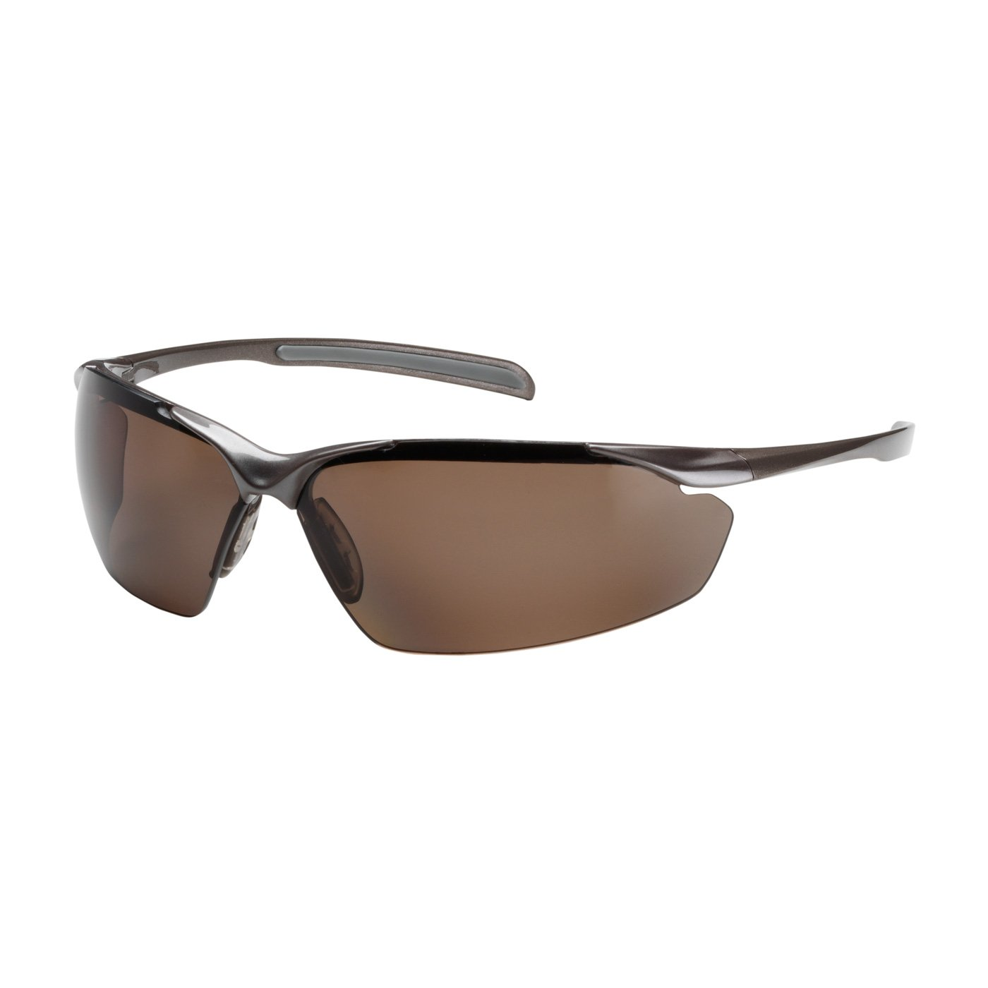 Commander 250-33-1042 Semi-Rimless Safety Glasses with Gloss Bronze Frame, Polarized Brown Lens and Anti-Scratch Coating