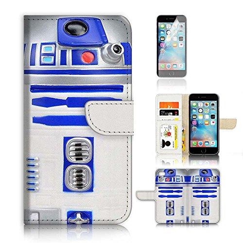 [해외](아이폰 8 플러스7 플러스) 플립 지갑 케이스 커버 및 화면 보호기 번들 A0716 스타 워 즈 R2 D2 / ( For iPhone 8 Plus  7 Plus ) Flip Wallet Case Cover and Screen Protector Bundle A0716 Starwars R2 D2