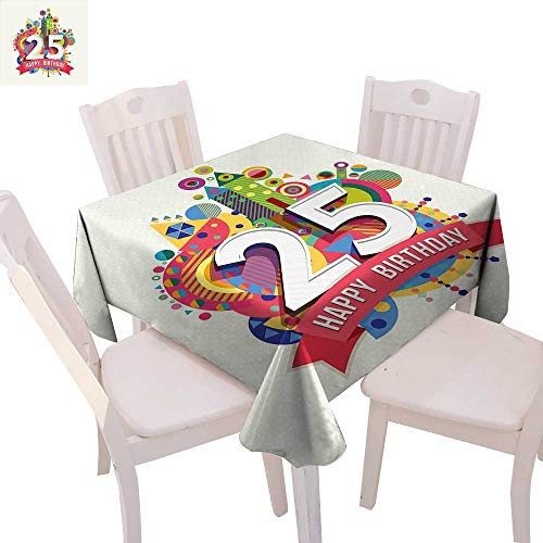 Raymond Square Print (cobeDecor 25th Birthday Stain Resistant Wrinkle Tablecloth Funny Celebration Greeting Card Inspired with Number Text Label Art Print Square Wrinkle Resistant Tablecloth 54
