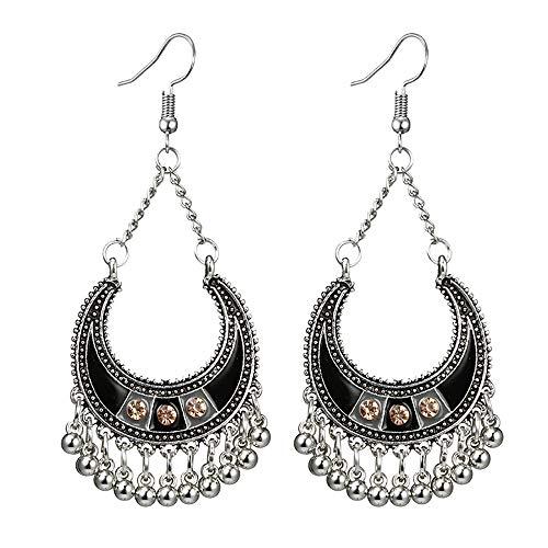 callm Earrings Studs Women Vintage Bohemian Drip Oil with Diamonds C Semi-Circle Bells Long Tassel Earrings