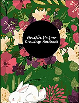 graph paper drawings notebook pretty floral green cover 1 4 inch