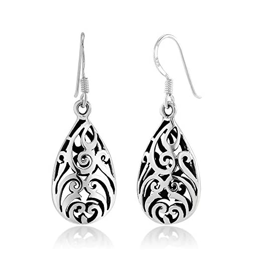 88ec3e168 925 Sterling Silver Bali Inspired Open Filigree Puffed Teardrop 1.6 ...