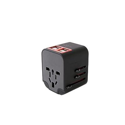 Universal Plug 4USB Universal Travel Universal Socket Hong Kong Version Japón, Europa, Reino Unido y Alemania Standard Multifunction Power Converter Black