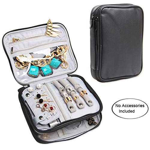 Teamoy Double Layer Jewelry Case, Travel Jewelry Case Bag for Womens Earrings, Rings, Necklaces, Chains and Other Accessories, Black