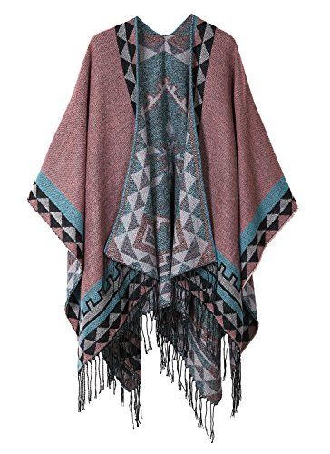 - Urban CoCo Women's Printed Tassel Open front Poncho Cape Cardigan Wrap Shawl (Series 5-Pink)