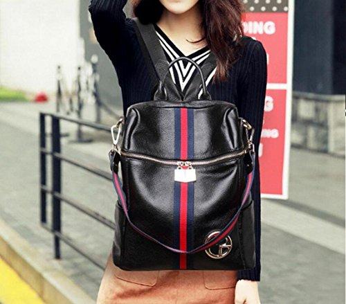 New Double Casual Handbags Green School Shoulder Genuine Daypack Leather Bag Fashion Women's Travel Stripe Backpack Bag qHtSw7Y