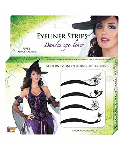 Deluxe Spider Web Spiderman Spiderwoman Stick On Eyeliner Accessory Makeup (Halloween Web Eyeliner)