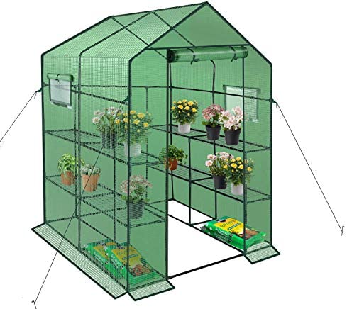 ENSTVER Reinforced Walk-in Greenhouse with Window,Plant Gardening Green House 2 Tiers and 8 Shelves,L56.5 x W56.5 x H76.5