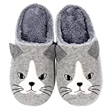 Children Cat Dog Pattern Winter Slippers Anti-Slip Home Slippers Bedroom Shoes(Light Grey, 2XS)