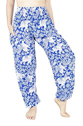 Lofbaz Women's Rayon Smocked Waist Flowy Hippie Boho Harem Pants - Elephant 4 Royal Blue - L ()
