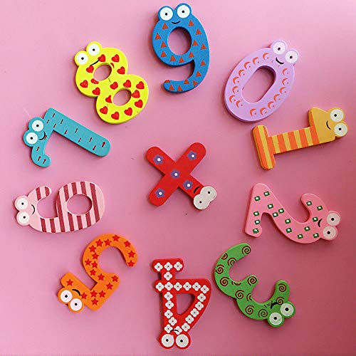 MaxFox 10pcs Letters Refrigerator Stickers Cute Alphabet Magnet Wooden Fridge Sticker for Baby Kids Child Home Educational Toy (Multicolor) ()