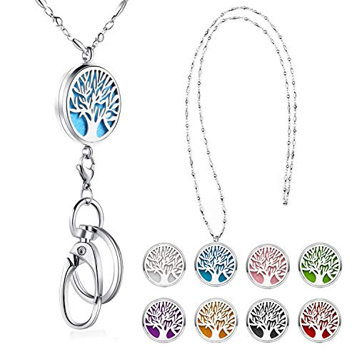 (Strong Lanyard Necklace Stainless Steel Beaded Chain Necklace Silver for ID Badge Holder and Key Chains Non Breakaway Pendant for Women Nurse Diffuser Tree of Life)