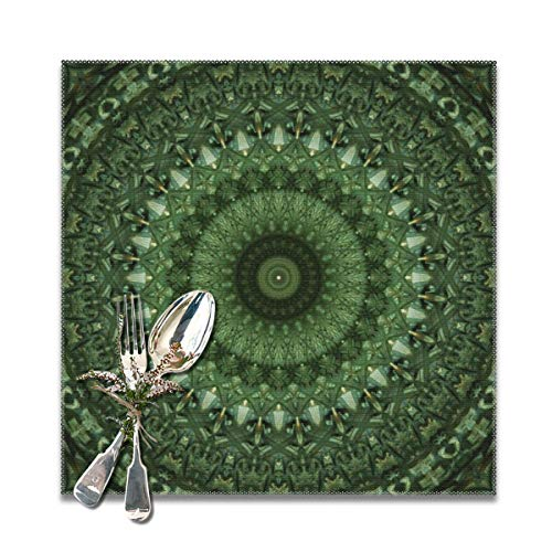 (Yuteea Mandala in Olive Green Tones Table Placemats for Dining Table,Washable Table mats Heat-Resistant(12x12 inch) Set of 6)