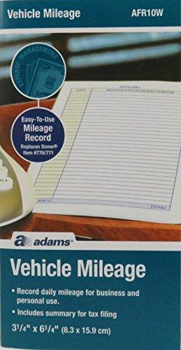 Adams AFR10W Vehicle Mileage Log