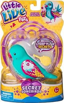 Little Live Pets 34709 - Wellensittich Secret Sweetie, grün, zwitscherndes Vögelchen, pfeift lustige Melodie, Vogel nimmt Geh