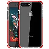 iPhone 8 Plus case, iPhone 7 Plus Case, Mateprox Shield Series Heavy Duty Protective High Clear PC Back Cover Soft Rubber TPU Bumper Anti-Scratch Shockproof case for iPhone 7 Plus/8 Plus-Red