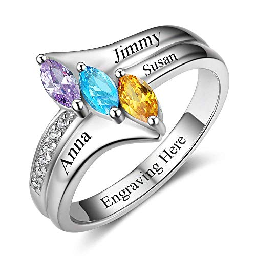 Fortheday Personalized Mothers Rings with 3 Simulated Birthstones and Names Mother Rings with 3 Children Birthstones for Women (6)