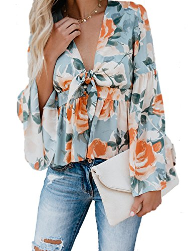 Sophieer High Low Floral Tie Front Top Blouse Deep V Trumpet Sleeve Shirt for Teens Blue Floral M ()