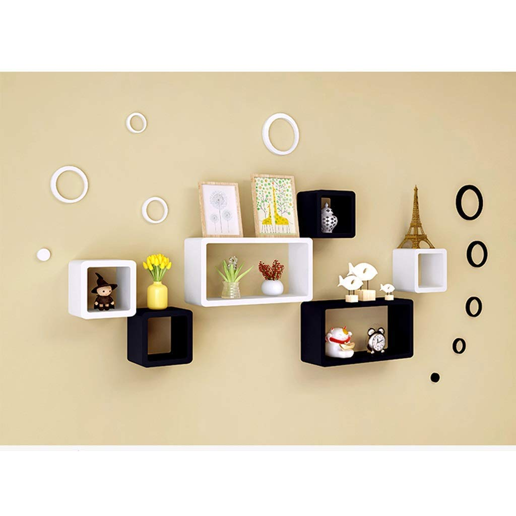 Excellent Wooden Cubic Wall Rack Shelves Black And White Big Box 4 15 8 Inches Small Boxes 4 7 7 Inches For Living And Bedroom Decoration Amazon In Home Kitchen