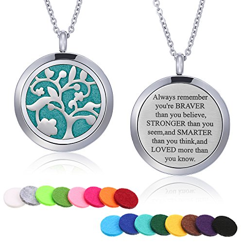 Mtlee Aromatherapy Essential Oil Diffuser Necklace Locket Pendant Stainless Steel Perfume Necklace with 16 Refill Pads and 24 Inch Adjustable Chain (Tree - Laser Sis Charm