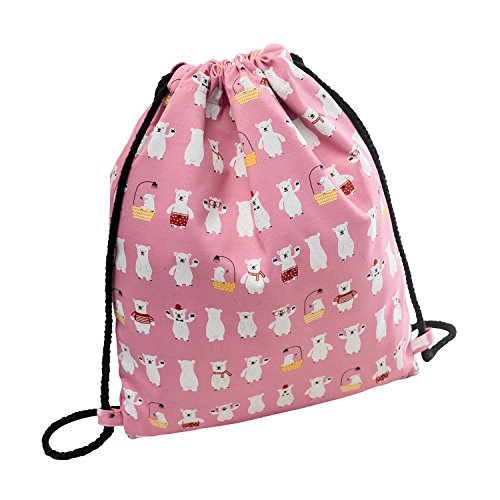 Cute Polar Bear Drawstring Backpack Small Hiking Bag Gym Backpack Lightweight Backpack Square Polyester Bag by VOLINER Pink
