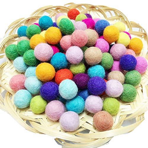 YCT Hand-felted Wool Balls - 100 Pure Wool Beads 20mm Mixed Colors