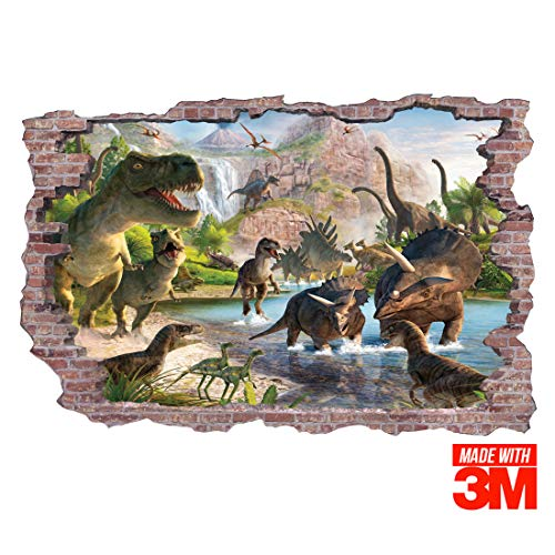 Ofisson Giant (36x24in) Dinosaur 3D Wall Sticker - Realistic Decal Illusion Effect Mural 3M Sticker