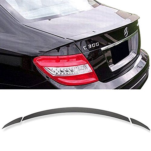 (Trunk Spoiler Fits 2008-2014 Benz W204 C-Class | B Style Unpainted Black ABS Boot Lip Rear Spoiler Lip Wing Deck Lid By IKON MOTORSPORTS | 2009 2010 2011 2012 2013)