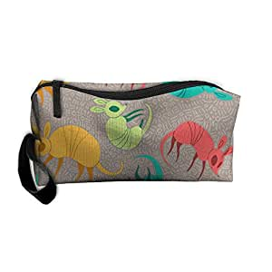 Travel Makeup Rainbow Colorful Armadillo Cosmetic Case Organizer Portable Artist Storage Bag Toiletry Jewelry Pen Holder Stationery Pencil Pouch