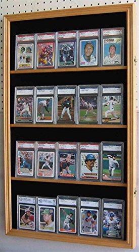 Display Case Wall Cabinet for Football Baseball Hockey Basketball Graded Sport Trading PSA, BVG, SGC cards, Screwdown holders, (Football Wall Shelf)