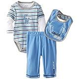 Calvin Klein Baby-Boys Newborn Twofer Stripes Bodysuit with Pants and Bib, Blue, 0-3 Months