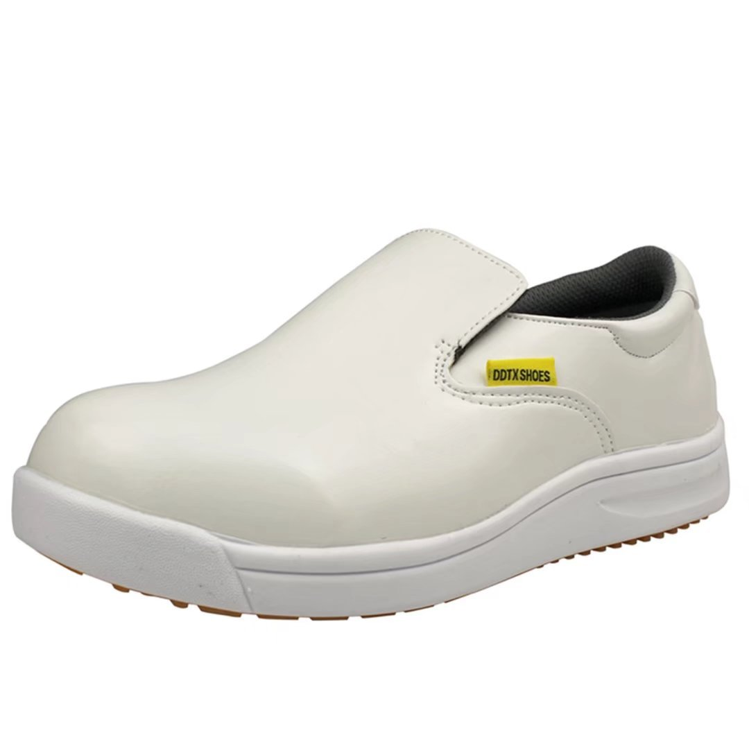 DDTX Professional Slip and Oil Resistant Men's Slip-on Work Shoes White (10.5)