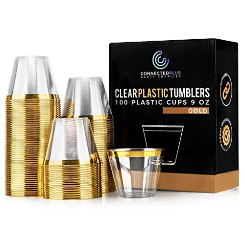 ConnectedPlus 9 oz Gold Rimmed Plastic Cups: 100 Fancy Disposable Wine, Cocktail or Punch Glasses - Clear Tumbler Cup Perfect for a Wedding Reception, Elegant Holiday Party and More