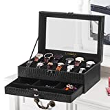 LANGRIA 12-Slot Watch Box with Bottom Jewelry Tray Faux Crocodile Leather Exterior Soft Lining Interior 12 Removable Cushions Metal Clasp Closure 2-Tier Display Showcase, Black/Black Interior