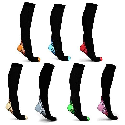 Calcetines de compresión KUGIN (7 pares) para mujeres y hombres ...