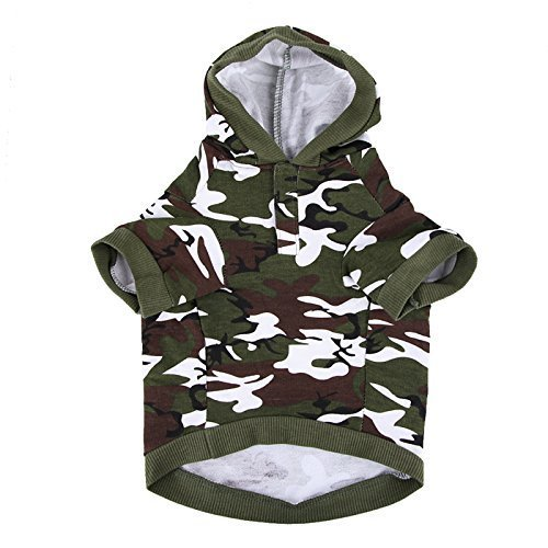 Army Green Camouflage Hoodie Pet Dog Clothes Camo Sweatshirt-L Size by petcondo - Camo Dog Hoodie Clothes