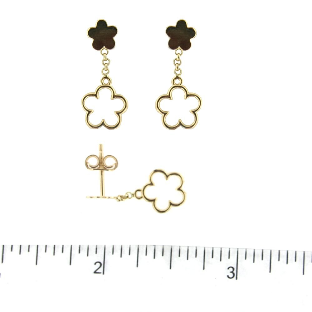 18K Yellow Gold top Polished Flower and Dangle Open Flower Post Earrings 0.75 inch L by Amalia (Image #2)
