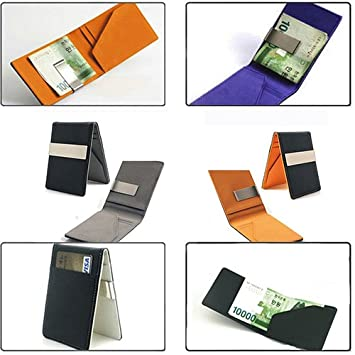 Grey990 Fashion Mens Faux Leather Slim Wallet Money Clip ID Credit Card Holder Purse Blue