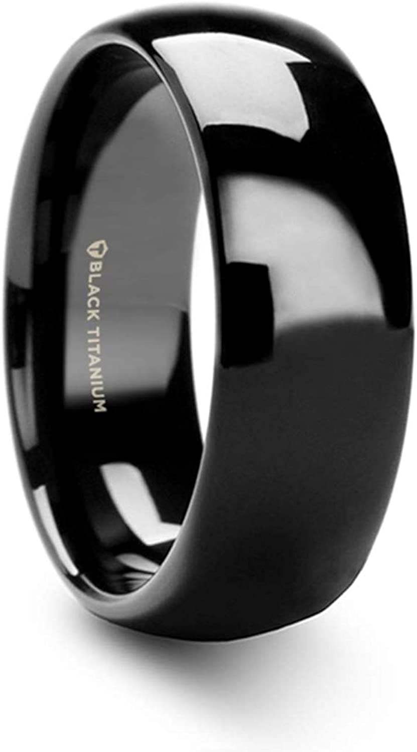 Thorsten Varen Men's Black Titanium Wedding Band Polished Finish Domed Rings - 8 mm