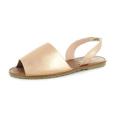 98af5d02f3cf Ella Palma Tan Flat Spanish Sandal Sling Back Shoes Rose Gold - ell-pal-