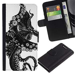 Billetera de Cuero Caso del tirón Titular de la tarjeta Carcasa Funda del zurriago para Sony Xperia Z1 Compact D5503 / Business Style Black White Photo Tentacle Monster