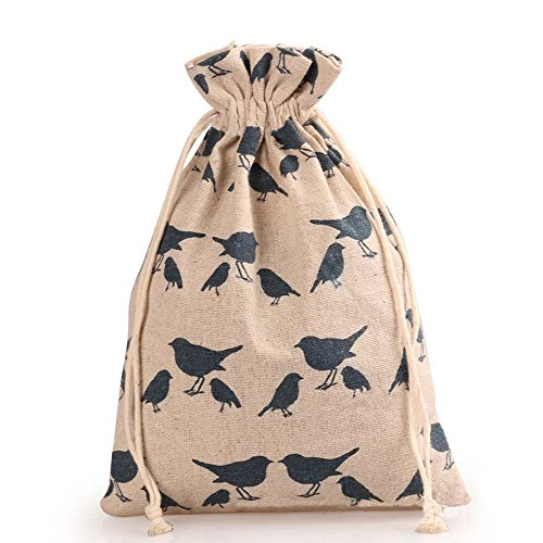 TooGet 12pcs Double Drawstring Cotton Linen Jute Cloth Sack Muslin Bags Favor Wedding Gift Jewelry Candy Bags Packing 4x4.8 Inch(Bird) -