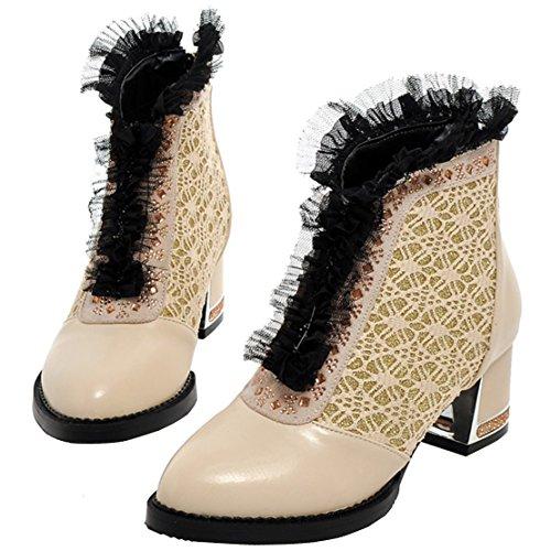 AIYOUMEI Damen Winter Blockabsatz Stiefeletten mit Spitze und Strass 5cm Absatz Bequem Kurzschaft Stiefel F1VpOfzS