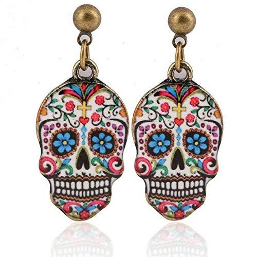 Colorful Skull Dangle Earrings: Fashion Halloween Dia De Meurtos Drop Studs (White Multi Color)