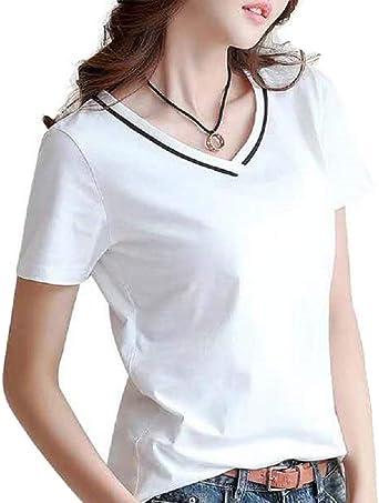 Nueva Camiseta Negra de Manga Corta con Cuello en V de Verano, versión Coreana de la Camiseta de algodón.: Amazon.es: Ropa y accesorios