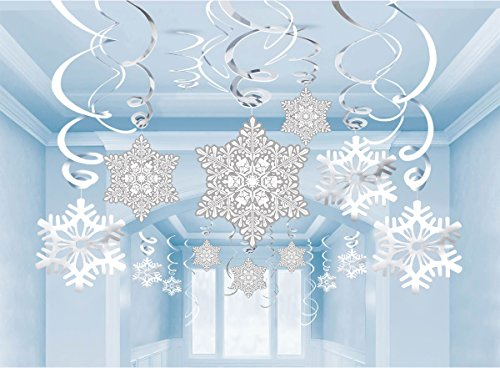 36Ct Christmas Snowflake Hanging Swirl Decorations - Winter Wonderland/Xmas/Holiday Party Supplies -