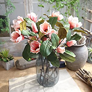NIHAI Artificial Flower Looks Realistic and Beautiful Flower Arrangement Fake Magnolia Long Branch Floral for Wedding Bouquet Bridal Garden Party Home Decorations (Pink) 79